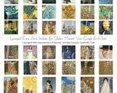 ART MINIS 1 collage sheet Klimt Monet Van Gogh inchies charms slides digital DOWNLOAD vintage images altered ephemera Impressionism flowers