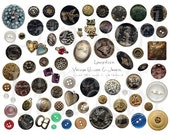 BUTTONS JEWELRY collage sheet digital DOWNLOAD vintage images ephemera charms altered art Victorian antique embellishments cards