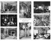 INTERIORS rooms backgrounds vintage photos collage sheet DOWNLOAD digital ATC altered art ephemera gothic steampunk antique empty quiet