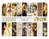 Vintage MICROSLIDES pendants digital collage sheet, Victorian art photos women girls flowers Fall Autumn goddess steampunk ephemera DOWNLOAD