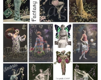 FANTASY flappers, digital collage sheet DOWNLOAD vintage images French postcards photos women altered art dark gothic ladies butterfly wings