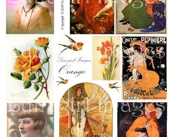 ORANGE digital collage sheet DOWNLOAD vintage images Victorian Edwardian altered art ephemera women ads flowers birds flappers