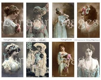 BLUE BELLES collage sheet DOWNLOAD vintage photos images ladies women Victorian Edwardian girls altered art French postcards ephemera