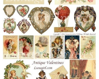 VALENTINES collage sheet digital DOWNLOAD Victorian vintage images cards love altered art ephemera hearts flowers