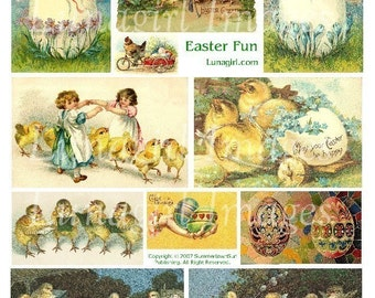 EASTER digital collage sheet DOWNLOAD Victorian children chicks eggs vintage images holidays chickens antique postcards ephemera altered art