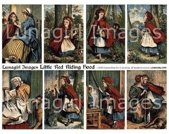 LITTLE RED Riding Hood digital collage sheet DOWNLOAD vintage images, Victorian storybook illustrations, fairy tales fantasy girls antique