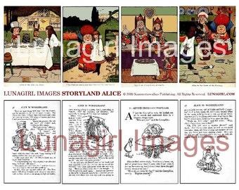 ALICE IN WONDERLAND collage sheet digital download storybook text pictures art vintage images Victorian children's illustration print pages