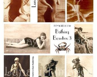 BATHING BEAUTIES 3, digital collage sheet DOWNLOAD vintage photos in sepia flappers women seashore beach ocean shabby altered art ephemera