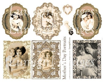 MOTHER'S DAY PORTRAITS collage sheet digital download vintage images photos ephemera sepia Victorian altered art frames tags mother child