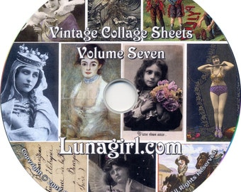 25 COLLAGE SHEETS ON CD, vintage images, photos, altered art, ephemera, Victorian
