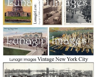 NEW YORK CITY, digital collage sheet, vintage images, photos, postcards, altered art ephemera download travel statue of liberty