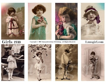 GIRLS 1930, digital collage sheet, vintage images, photos, flappers, postcards, altered art, ephemera children antique postcards DOWNLOAD