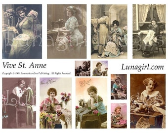 SEWING LADIES digital collage sheet DOWNLOAD vintage images, st anne French postcards women seamstress Victorian altered art ephemera crafts