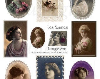 FEMMES 1 collage sheet vintage images ladies women photos digital DOWNLOAD altered art ephemera frames