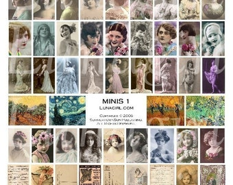 MINIS 1 collage sheet DOWNLOAD vintage images digital ephemera charms small tile pictures Victorian women girls flappers altered art