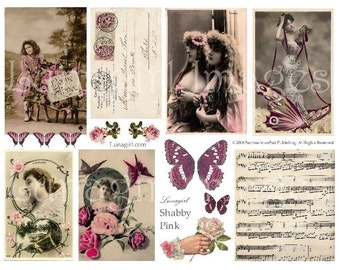 SHABBY PINK digital collage sheet DOWNLOAD, French vintage ephemera photos altered art images music handwriting women butterfly wings carte