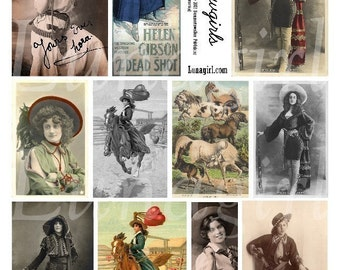 COWGIRLS digital collage sheet vintage photos western women rodeo riders horses Americana altered art images printables ephemera DOWNLOAD