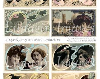 French ART NOUVEAU LADIES collage sheet digital download, vintage images actresses, tinted postcards women girls, altered ephemera printable