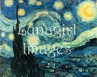 300 images VINCENT VAN GOGH Paintings Art, antique images, printable digital ephemera collage cards crafts sunflowers starry night, Download