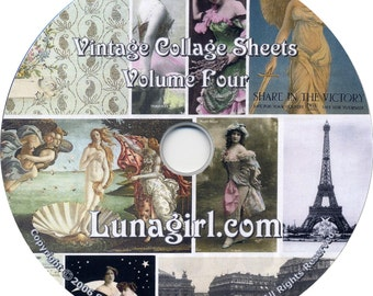 25 Digital COLLAGE SHEETS on CD, vintage images ephemera vintage photos altered art printable for crafts cards scrapbooking mixed media