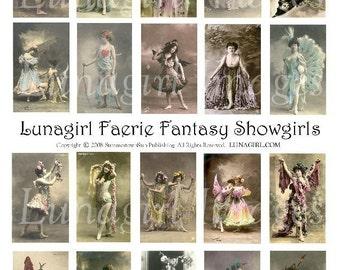 FAERIE FANTASY SHOWGIRLS digital collage sheet Download, Paris dancers, women photos postcards, fairy fairies, altered art, French ephemera