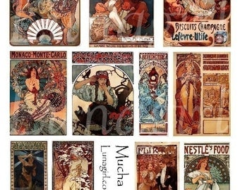 MUCHA 2 collage sheet digital DOWNLOAD altered Art Nouveau vintage images women antique Paris illustration ephemera goddess women ads orange