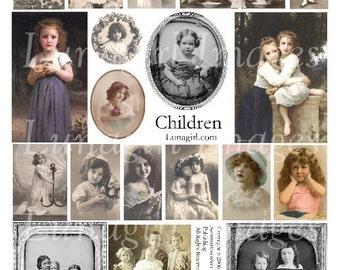 CHILDREN collage sheet vintage photos images Victorian girls altered art digital ephemera art  crafts charms DOWNLOAD