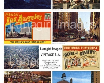 LOS ANGELES digital collage sheet vintage images postcards, L A landmarks history photos, altered art ephemera DOWNLOAD