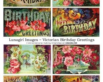 Victorian BIRTHDAY CARDS digital collage sheet vintage images floral flowers pansies daisies antique ephemera altered art printable DOWNLOAD