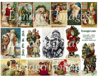 St Nick SANTA CLAUS collage sheet DOWNLOAD Victorian Christmas vintage images holiday cards digital ephemera crafts Noel Father Christmas