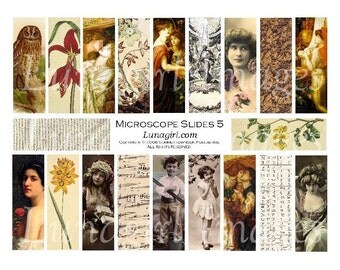 MICROSLIDES 5 collage sheet DOWNLOAD vintage photos women flowers ephemera altered art Fall Autumn golden angel pendants