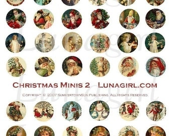CHRISTMAS MINIS rounds 1-inch craft circles digital collage sheet DOWNLOAD charms vintage images victorian ephemera altered art holidays