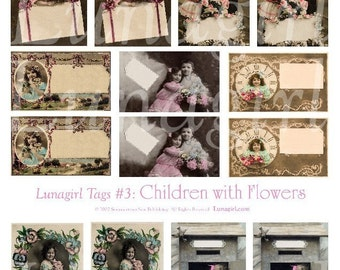 CHILDREN FLOWERS tags DOWNLOAD digital collage sheet vintage images postcards labels holiday gift tags u-print