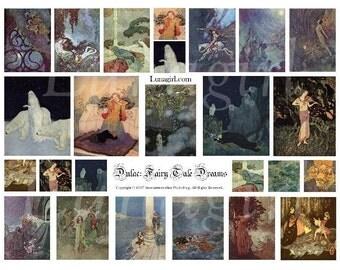FAIRY TALE DREAMS digital collage sheet, vintage images, Victorian art, printable ephemera, altered fairies goddess magical fantasy Download
