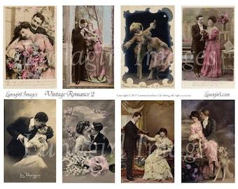 VINTAGE ROMANCE 2 collage sheet DOWNLOAD couples vintage photos images couples lovers romantic French ephemera women altered art