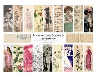 MICROSLIDES 3 digital collage sheet DOWNLOAD vintage photos women girls flowers ladies ephemera pendants 1x3 altered art jewelry supplies