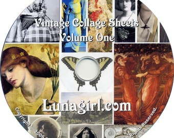 26 COLLAGE SHEETS on CD, digital vintage images Victorian pictures cards photos printables altered art ephemera wings women children pages