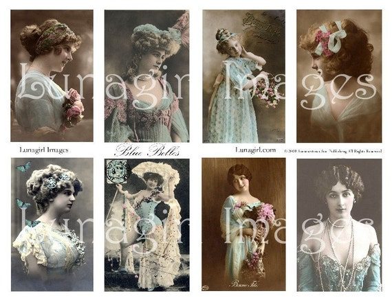 BLUE BELLES collage sheet DOWNLOAD vintage photos images ladies women Victorian Edwardian girls altered art French postcards ephemera