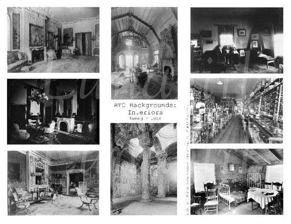 INTERIORS rooms backgrounds vintage photos collage sheet DOWNLOAD digital ATC altered art ephemera gothic steampunk antique empty quiet