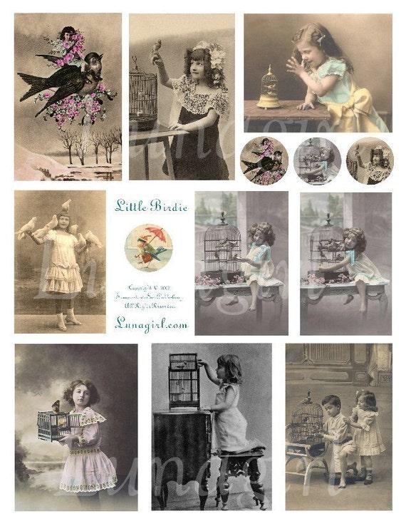 LITTLE BIRDIE digital collage sheet DOWNLOAD vintage images photos Victorian children birds girls boys pets altered art ephemera printables