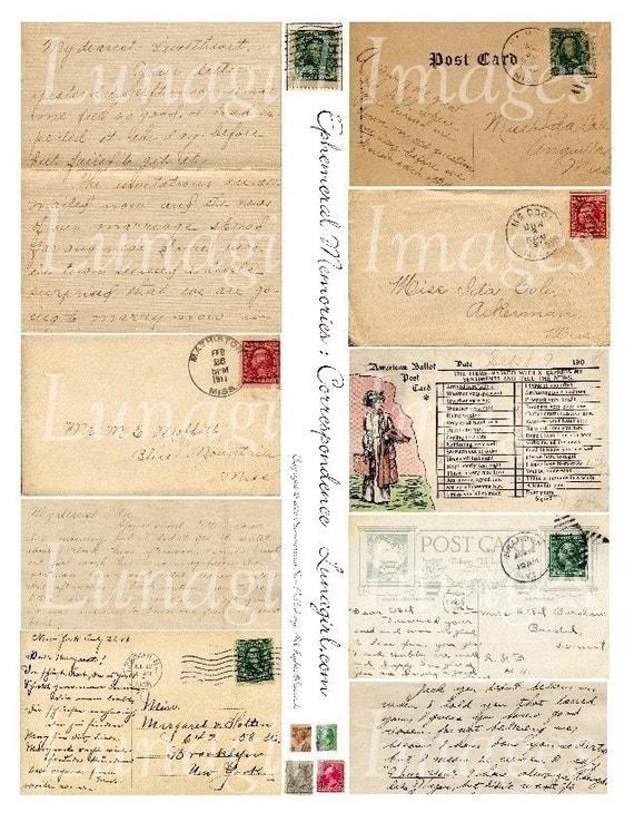 EPHEMERAL MEMORIES collage sheet DOWNLOAD vintage images antique letters handwriting script postcards stamps mail digital ephemera old paper