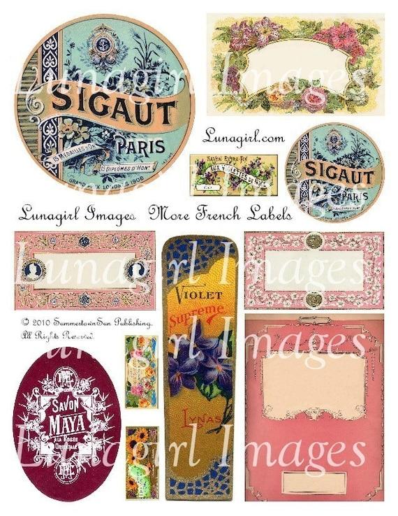MORE FRENCH LABELS collage sheet download digital vintage images Paris perfume soap ephemera altered art tags