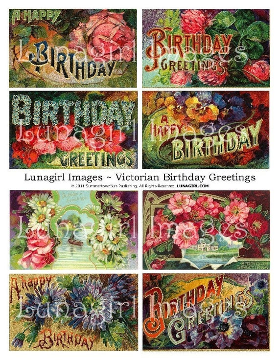 Victorian BIRTHDAY CARDS digital collage sheet vintage images – Victorian Birthday Cards