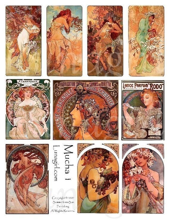 MUCHA digital collage sheet download altered ART NOUVEAU vintage ephemera Paris French women goddess seasons orange elegant printables cards