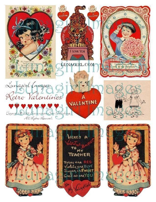 retro valentines digital collage sheet vintage images cards