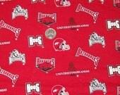 Arkansas Razorbacks Cotton Fabric  1/2 yard