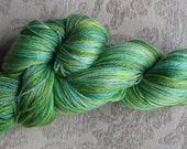 Handpainted merino tencel superwash sock yarn 400 yds greens gorgeous