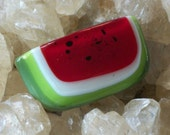 fused glass watermelon pin brooch with seeds picnic