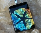 fused etched dichroic sand dollar pendant necklace