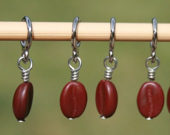 Coffee Bean Stitch Markers - Set of 6